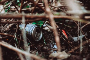 gray can on grass